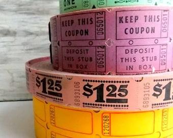 Vintage Raffle Tickets / Mauve Pink  / 18 Tickets / Daily Planner / Junk Journal / Pocket Letter