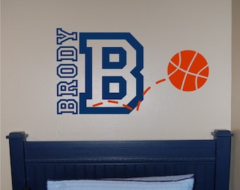 Basketball Name & Initial Wall Decal - Basketball Wall Decal - Sports Wall Decal - Personalized Basketball Wall Decal - Vinyl Wall Decal