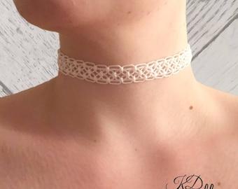 Macrame Choker, Bridal Choker, Macrame Bridal Choker, Macrame Necklace, Bridal Necklace, Bridal Jewellery, Alternative Bridal Jewellery