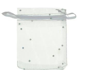 White Organza Pocket pouches silver glitters