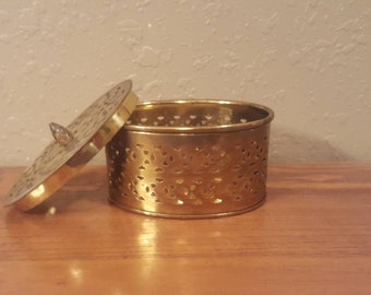 Vintage oval brass box with cutout detail and top.  Boho trinket box.