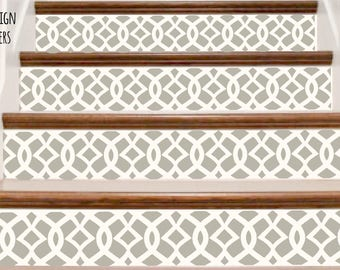 Decorative Vinyl Stair Riser Decals . Trellis One Decor Steps Stickers . Your Choice of Color and Quantity