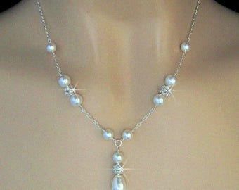 Bridal Pearl Necklace, Pearl and Rhinestone Y Necklace, Rhinestone Ball and Pearl Bridal Necklace, Wedding Necklace Jewelry For The Bride