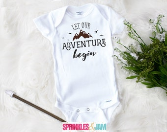 Adventure Begins Onesies® Brand, Grandparent Announcement, Pregnancy Announcement to Husband, Reveal To Grandparents, Shower Gift