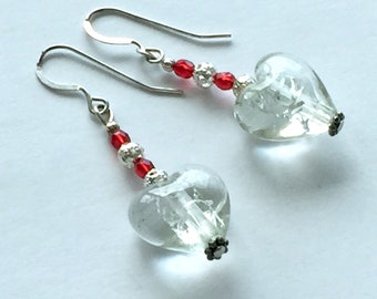 Glass heart earrings, Mother's Day gift, sparkly Valentine's Day drop earrings, red and white heart drop earrings
