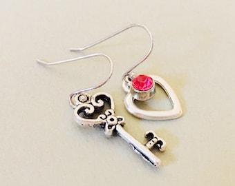 Key to My Heart Earrings, Pierced Earrings, Sterling Earwires, Mismatched Earrings, Teen Earrings, Heart and Key Earrings, Gift for Girl