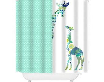 Giraffe Shower Curtain, Kids Shower Curtain, Kids Bathroom Decor, Shower  Curtains, Home