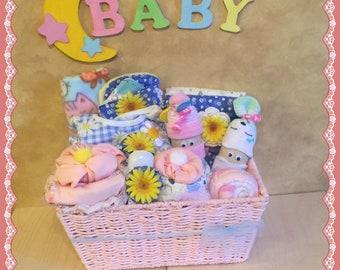 Baby gift basket etsy baby girl gift basketwelcome baby gift basketnewborn baby girl gift basket negle Choice Image