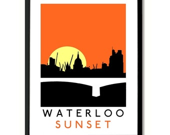 Kinks Waterloo Sunset inspired Wall Art Poster