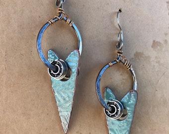 Aqua Blue Enamel Heart Earrings