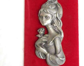 French Les Etain Du Prince Decorative Collectible Pewter Wall Hanging Picture