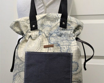 drawstring canvas shoulder bag