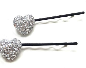 Diamante hair pins, sparkly hair pins, heart hair pins, wedding accessories, bridal hair pins, diamante bobby pins, heart bobby pins