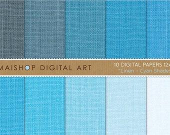 Digital Paper Linen 'Cyan Shades' Baby Blue, Blue-gray, Celeste... Linen Textured Papers for Scrapbooking, Crafts, Design..