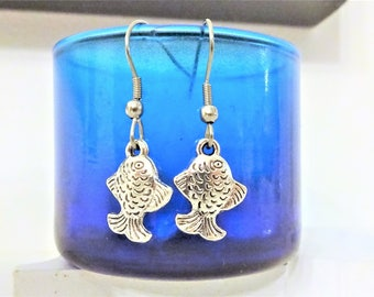 FISH EARRINGS - surgical stainless steel ear wires - hypoallergenic, sensitive ears, non allergic ear wires