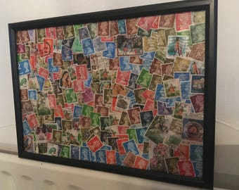 Framed Abstract Postage Stamp Art
