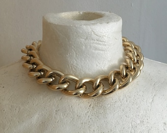 Vintage 80s Chunky Chain Necklace/ Gold-tone Chain Choker/ Big Links Gold Chain/ Statement Necklace/ 1980s/ Gifts/ Retro/ Jewelry