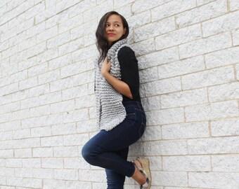 Grey knit Scarf, Chunky Knit Scarf- The Seoul scarf- Long wrap scarf, Knit wool scarf,  Grey scarf,  Gift idea