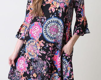 Dry brushed print tunic