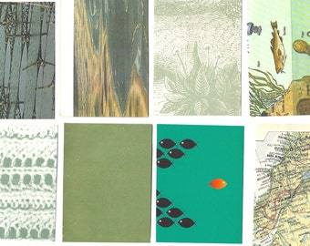 GREEN Scrapbook Paper supplies - Papers kit by color - One-of-a-kind