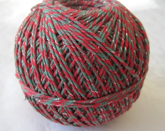 25 Yards Cotton Twine, Baker's Twine, Red String, Green Twine, Red Twine, Christmas Gift Wrap, Holiday Gift Wrapping, On Wood Spool