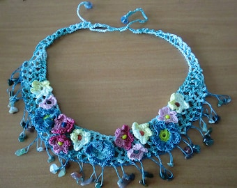 Sea Blue cotton necklace,Flower necklace with Lots of semi precious stones Art Necklace Hand crocheted flowers