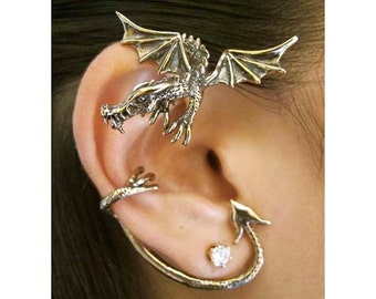 Unique Gift Idea Dragon Gift Dragon Jewelry Dragon Ear Wrap Dragon Ear Cuff Dragon Ear Wrap Gift For Her Gift For Him Ear Climber Ear Jacket