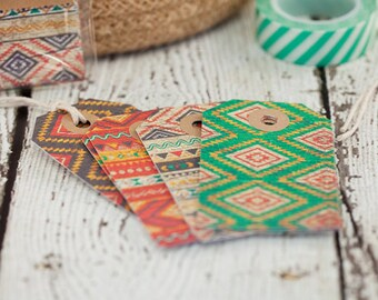 Tribal Pattern Tags - Set of 12, gift tags, cardstock tags, tribal tags, tribal, patterns, paper goods