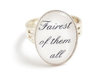 Snow White fairytale ring Fairest of them all silver ring, adjustable fairy tale inspired