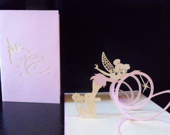 Tinkerbell Pop up Card Birthday -New Baby- Christening-Blank (sku155)