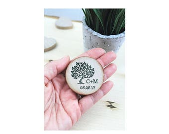 Custom Magnets Rustic favors - Wedding Favor Wood Magnets tree - Save The Date Wedding Magnets - Wedding Invitation - Magnets