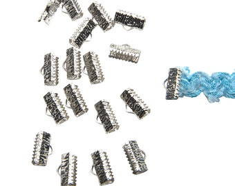 150 pieces  13mm  (1/2 inch) Platinum Silver Ribbon Clamp End Crimps - Artisan Series