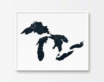Map Art, Map of The Great Lakes, Map Art Print, Printable Art, Black and White Print, Minimalist Art, Ink, Minimalist Print, Illustration