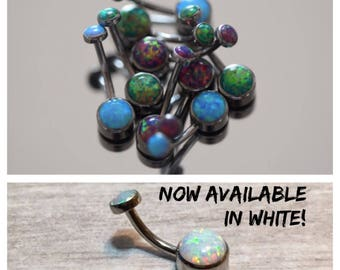 Cabochon Opal Navel Bar