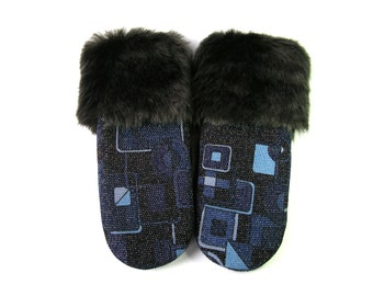 Mitten from sweater, boiled wool mittens, upcycled mitten, felted wool mittens, fleece lined mittens, black fur cuffs, faux fur cuffs mitts