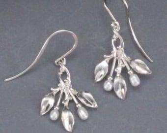 Three Leaf Earrings with pearls