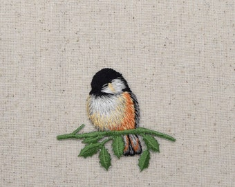 Chickadee - Bird - Sitting on Branch - Facing Left - Iron on Applique - Embroidered Patch - 119861A