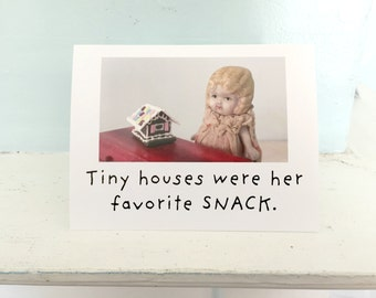 Holiday Gingerbread House Card Funny China Doll Stationary Tiny House Notecard