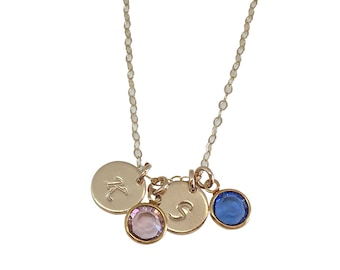 Personalized Mothers Day Gift Mom Necklace Initial Necklace Handstamped disc Mother Necklace Gold , Birthstone Charm Necklace  Gift for Mom