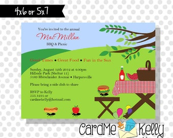 Printable Summer Picnic Family Reunion Park Grilling Party Invitation - Digital File