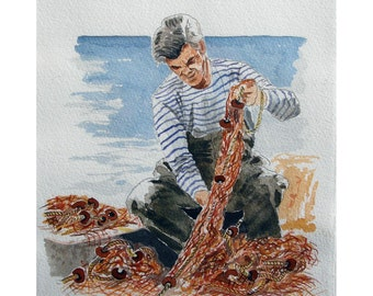 Fisherman and Fishnet, Saint-Tropez France WaterColor, Original illustration Artist Print Wall Art, Free Shipping in USA.