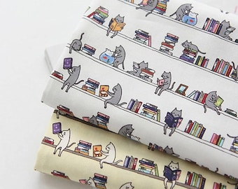 Library Cat Patterned Fabric made in Korea by Half Yard Digital Textile Printing