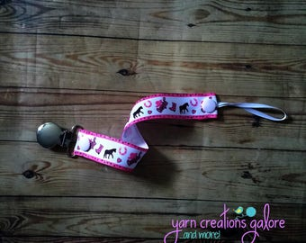 Pacifier Holder-- Cowgirl Horse Pink