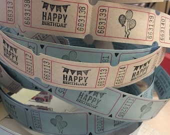 Happy Birthday Stamped Carnival Tickets Balloons