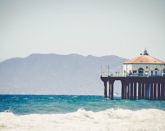 Manhattan Beach Pier with The Santa Monica Mountains in the Distance, Fine Art Photo Print, Home Decor