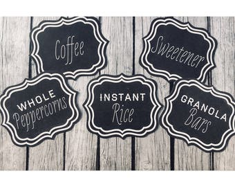 Chalkboard Pantry Labels • Chalkboard Labels • Foodie Gift • Now Offering Customized Ornate Labels and 3 Different Sizes •  Choose your set!