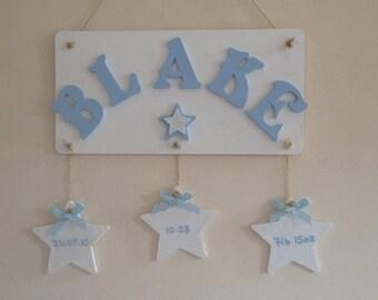 Newborn baby Girl Boy gift plaque