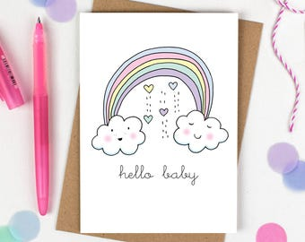 Rainbow baby card, New baby card, Baby girl, Baby boy, Baby congratulations, Welcome to the world, New parents, Congratulations baby card