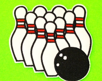 Bowling Pins and Ball Retro Kitsch Get Your Game On Rockabilly Embroidered Canvas Iron or Sew On Patch