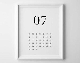 2018 Calendar, Printable Calendar, Wall Calendar, Minimalist Calendar, 2018 Wall Calendar, Typography Calendar